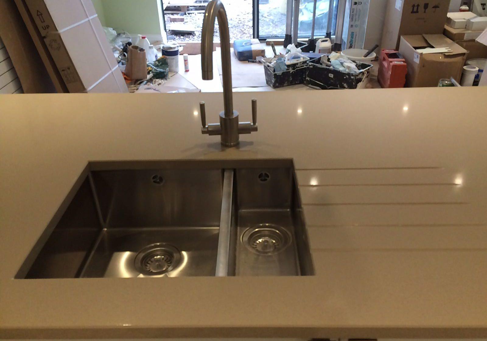 Bristol Beige Sink with Drainer Grooves